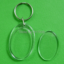 Free Shipping Hot promotion DIY acrylic blank keychain Oval shape key chain 3pcs/lot(China)
