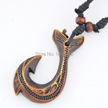 Cool Tribal Yak Bone Powder Carving New Zealand Maori Hooks Pendant Adjustable Necklace GIFT YN228
