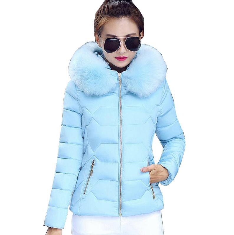Female Warm Winter Jacket 2017 Fashion Women Hooded Fur Collar Down Cotton Coat Solid Color Slim Coat Parkas s863Îäåæäà è àêñåññóàðû<br><br>
