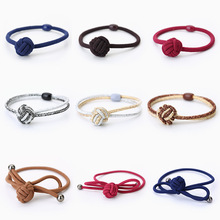 Bright gold Chinese knot manual Hair Holders High Quality Rubber Bands Hair Elastics Accessories Girl Women Tie Gum