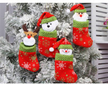 New arrival Cute Christmas Stockings Socks Santa Claus Socks Candy Gift Non-woven Bag Xmas Tree Decorations Random Shipping