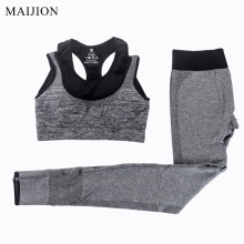 MAIJION 2Pcs Women Yoga Sets Fitness Sport Bra+Yoga Pants Leggings Set , Gym Running Sport Suit Set Workout Clothes for Female(China)