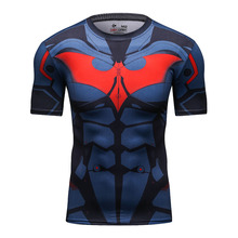 New Gym Sport Marvel Avengers Iron Man/Batman Captain America Compression T Shirt Superheroes Trainning & Exercise T-shirt(China)