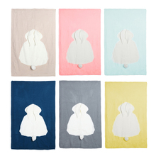 120 * 75cm Baby Muslin Wool Cute Rabbit Blanket Soft Swaddle Wrap baby Blanket bedding For Baby Room Baby Bedding Warm Accessory