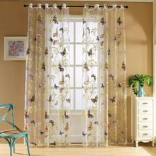 Butterfly Curtain Panel Roman Window Valance Home Kitchen Curtains String Fabric For Yarn Rustic Curtain Yarn(China)