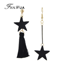 FANHUA Famous Brand Jewelry Black Punk Earrings Asymmetry Long Chain with Tassel Star Dangle Earrings for Women Brincos(China)