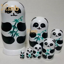 7pc Pandas Wooden Nesting Dolls Matryoshka Russian Dolls Babushka Best Gift For Kids Home Decor Items Wood Toys For Toddlers(China)