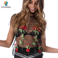 Black Mesh Shirts For Women 2017 Sexy Embroidered Tops Lady Lace Short Sleeve Blouse With Flower Fashion Blusa Flores Femme