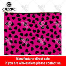 Rose Pink Seamless Navy Blue Love Heart Canvas Pattern Print Cosmetic Bag Makeup Pouch Wristlet Hand Bag
