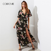 Buy COLROVIE Flutter Sleeve Surplice Wrap Woman Dress 2018 Multicolor Deep V Neck Short Sleeve Shift Dress Belted Floral Dress for $31.65 in AliExpress store
