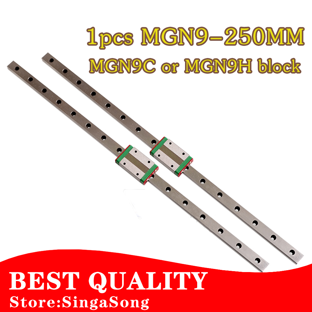 9mm Linear Guide MGN9 L= 250mm linear rail way + MGN9C or MGN9H Long linear carriage for CNC X Y Z Axis<br><br>Aliexpress