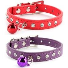 Factory Price! Rhinestone Crystal Dog Cat Puppy Collar PU Leather Buckle With Bell Pet Collars(China)