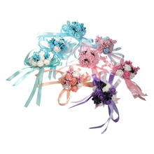 Wedding Bridal Bridesmaid Hand Flowers Wrist Corsage Party Wedding Prom Dance Hand Ribbon Flower Decoration