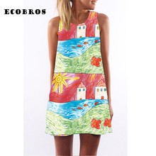 Buy ECOBROS 2017 Woman Summer Dress casual sleeveless Loose painting print knee dresses plus size woman clothing dress for $7.99 in AliExpress store