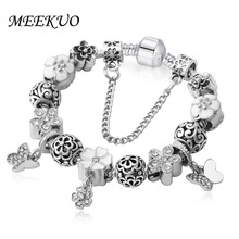 European Style Romantic Silver snowflake Charm Beads Bracelet for Women Fit Original Bracelets Brand DIY Jewelry