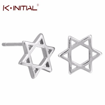 1pair 925 Sterling Silver Fashion Sea Star Starfish Stud Earrings Star of David Jewish Earringf or Women Jewelry Accessories