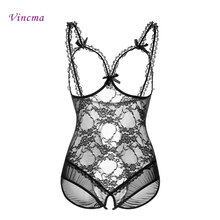 Buy Plus Size S M L XL 2XL 3XL 4XL Open Bra Open Crotch Women Lace Sexy Lingerie Hot Transparent Babydoll Dress Erotic Costumes