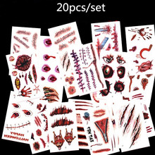20pcs 3D Tattoo Sticker Halloween Scar Design Small Pattern Waterproof Temporary Tattoo Body Art for Men Women Kids Fake Tattoo(China)