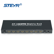 STEYR 4K 6X2 HDMI Matrix Switcher with HDMI Audio Extractor Splitter Optical Toslink SPDIF Audio Out with IR Remote Control