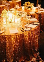 Sparkly 108inch Round Gold Sequin Tablecloth Table Linens For Wedding/Party Decoration(China)
