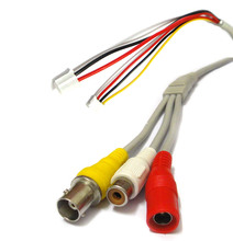 2X CCTV Power Video Audio Cable BNC RCA DC Connector to Stripped Wire end cable with Terminals for CCTV Camera PCB Board