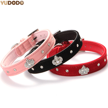 4 Colors Soft Velvet Material Crown Dog Collar Reflected Rhinestone Decorative Puppy Dog Necklace Collar