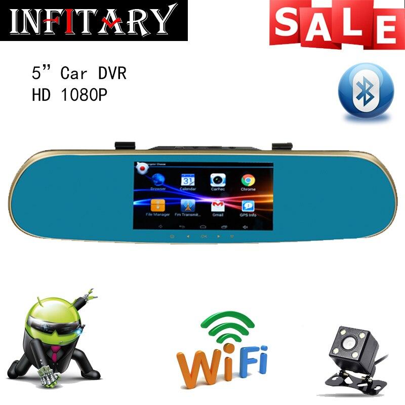 FHD 1080P 5 touch screen Car DVR android 4.4.2 GPS Navigation Mirror Car DVR dual lens camera rear parking WiFi FM Transmit<br><br>Aliexpress