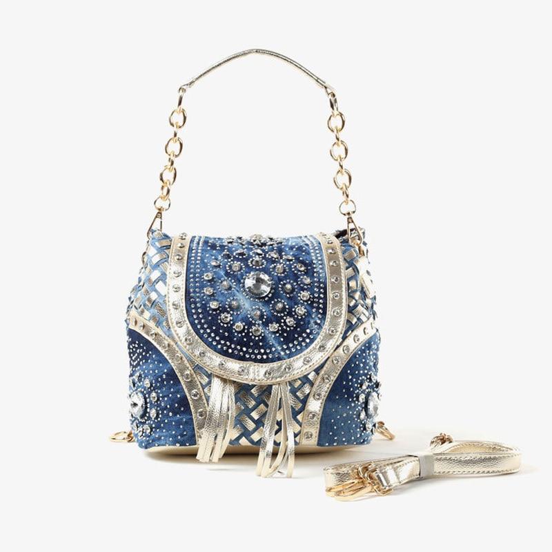 New Women Denim Bags Jeans Handbag 2017 High Quality Ladies Bags With Diamonds Rivet Messenger Bags Womens Shoulder Bag<br>