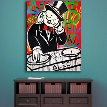 HDARTISAN Oil Painting Alec Monopoly DJ Music Graffiti Art Wall Pictures For Living Room Home Decor Modern Printed Painting(China)