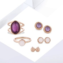2017 Fashion New Products Alloy Rings Stud Earrings Set Mosaic Purple Rhinestones Gold Silver Jewelry Premium Set Accessories