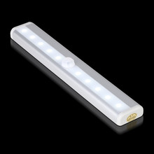 2 pcs Wireless PIR Motion Sensor Night light 10 LED AAA battery powered Closet Lamp with Magnetic Stick Warm /white light choice(China)