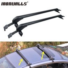 Ironwalls 2X Universal Aluminum Car Roof Rack Cross Bars bike Snowboard Rack Luggage Cargo Basket Carrier with anti-theft lock(China)