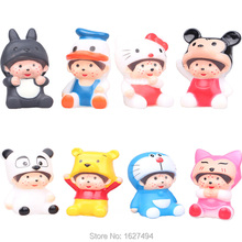 8pcs Cartoon Monchichi Cosplay Winnie Hello Kitty Mickey Doraemon Cheap Hollow Plastic Anime Figures Figurines Kids Toys Dolls