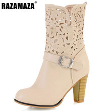 "RAZAMAZA ""Women Mid-Calf Boots Round Toe Thick High Heels Women Boots Hollow Out Slip On Fashion Laies Boots Footwear Size 34-44"