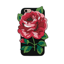 2017 Fashion cartoon 3D sexy perfume girl simulation candy color big green leaf thorns rose flower soft silicone case For Iphone