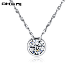 OKI-NI sterling 925 silver necklace 2017 women rhinestone choker necklaces & pendants collier bijoux necklace femme Short chain(China)