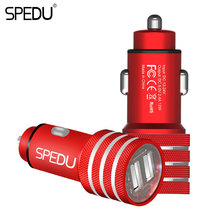SPEDU Dual Port USB Car Charger For iPhone Xiaomi Samsung 2.4A Fast Charge Adapter Metal Mini USB Car-Charger For Mobile Phone(China)