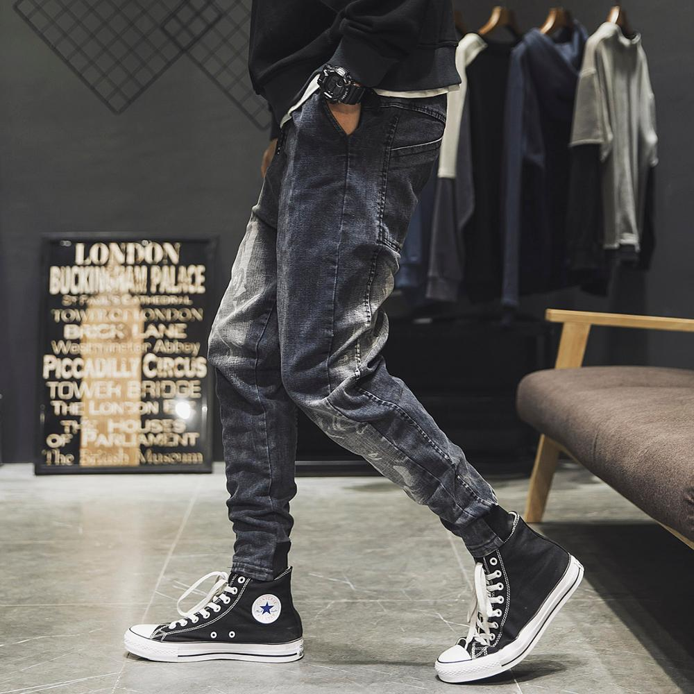 2019 spring new Korean version of the trend Japanese loose tooling jeans men's tide brand retro casual fashion harem pants
