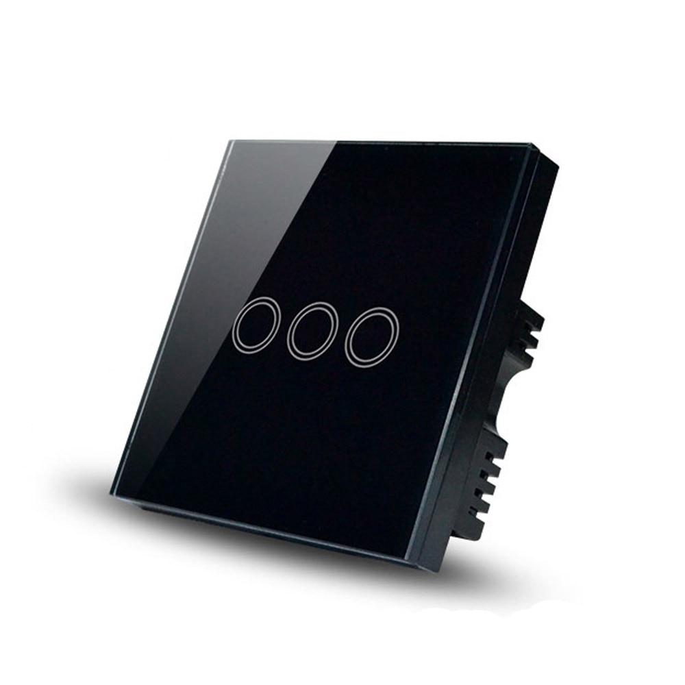3 Gang 1 Way,UK standard,glass panel touch screen light switch<br><br>Aliexpress
