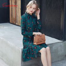 Quintina New Fashion Printed Women Dress Knee-Length Bohemian Lady Dress Vestidos Women Clothing Spring Vintage Dress