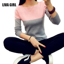 LIVA GIRL Knitted Sweater Women Autumn Winter Split Women Sweaters And Pullovers Female Pink Tricot Jumper Pull Femme B02(China)