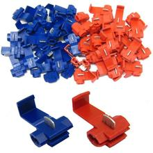 Vehemo 20Pcs Red Blue Electrical Cable Connectors Fast Quick Splice Lock Wire Terminals Crimp Scotchlocks Snap On Connector(China)