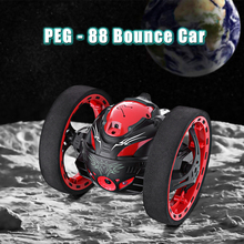 Flashing LED Light Bounce Car 2.4GHz Remote Control Bounce Cars Jumping Music Playing Car with Camera Video Function Kids Toys(China)