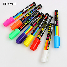 8 Colors 6mm Erasable Oblique Highlighter Pen Set Liquid Chalk Fluorescent Neon Marker Led Window Glassboard Pens