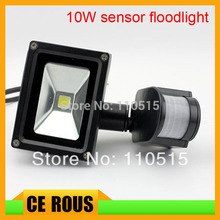 Black Color 10W PIR Passive Infrared Motion Sensor Flood Light AC 110-220V 900 Lumen waterproof park light free shipping