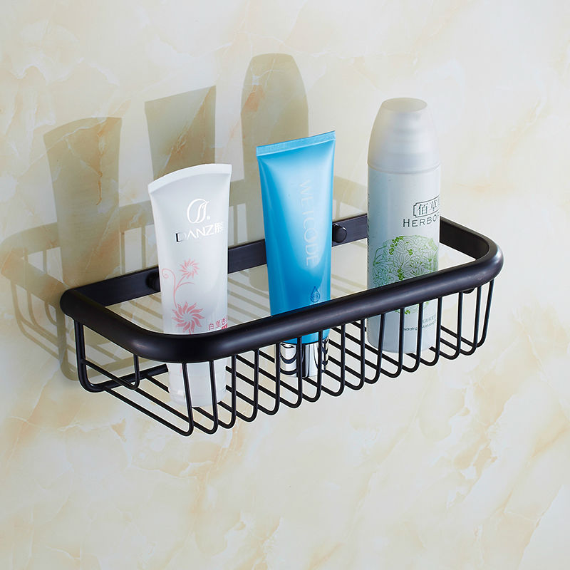 Free Shipping 30CM Long Bathroom Storage Wall Mounted Rectangle ORB Basket Shelf Oil Rubbed Bronze Cosmetic Shampoo Shelf ZR2505<br>