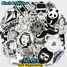 New 50 PCS Black And White Sticker Skateboard Luggage Car Stying DIY JDM Doodle Decal Toy Styling PVC Waterproof Cool Stickers