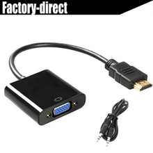 20PCS/lot HDMI to VGA converter adapter cable for Laptop Notebook DVD player HDMI input to VGA output(China)