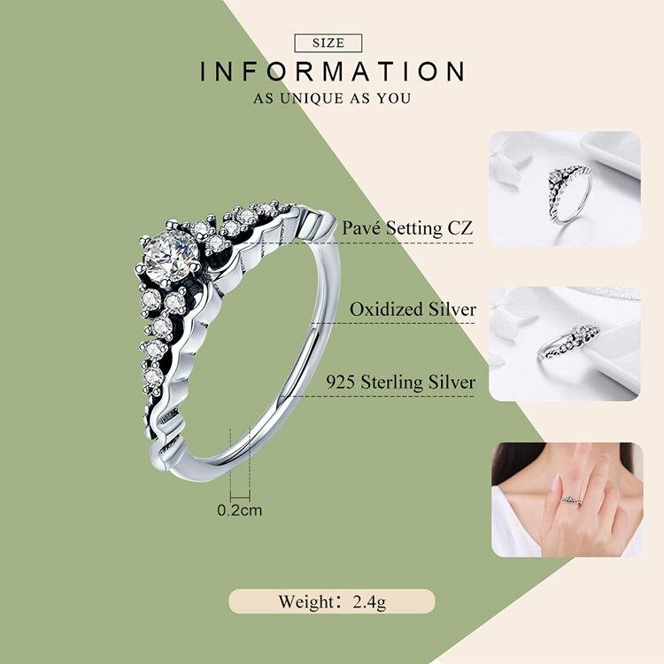 Luxury 100% 925 Sterling Silver Fairytale Tiara Ring