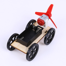 1 Pcs ABS DIY Wind-up Toy Assemble Car Kids Wooden Building Bolck Technology Educational Wind Powered Intellectual Auto Toys(China)